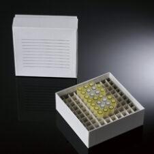 """Cajas de almacenamiento para ultracongeladores 2""""/ 5 cm alt. color blanco con divisores 10x10 para 100 tubos"""