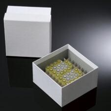 "Cajas de fibra para ultracongeladores 3"" / 7,5 cm. recubiertas de plástico con divisores de 9x9 para 81 tubos"